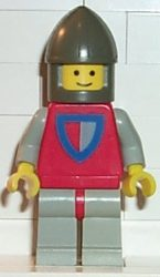 Lego cas075 - Classic - Knight, Shield Red/Gray, Light Gray Legs with Red Hips, Dark Gray Chin-Guard