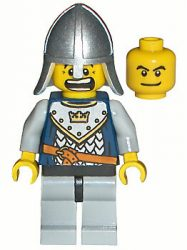 Lego cas341 - Fantasy Era - Crown Knight Scale Mail with Crown, Helmet with Neck Protector, Dual Sided Head