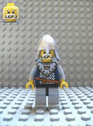 Lego cas343 - Fantasy Era - Crown Knight Scale Mail with Crown, Helmet with Neck Protector, White Moustache and Beard