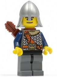 Lego cas383 - Fantasy Era - Crown Knight Scale Mail with Chest Strap, Helmet with Neck Protector, Dual Sided Head, Quiver