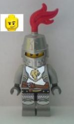Lego cas440 - Kingdoms - Lion Knight Breastplate with Lion Head and Belt, Helmet Closed, Smirk and Stubble Beard