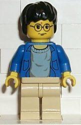 Lego hp004 - Harry Potter, Blue Open Shirt Torso, Tan Legs